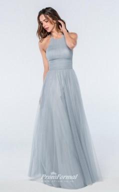 DASUKWS2302 Plus Sides A Line Jewel Light Sky Blue 65 Tulleper Bridesmaid Dresses