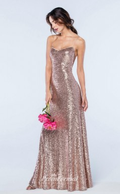 DASUKWS2305 Plus Sides Mermaid/Trumpet Straps Pink Sequined With Low Back Bridesmaid Dresses