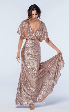DASUKWS2306 Plus Sides Mermaid/Trumpet V Neck Pink Sequined With Low Back Bridesmaid Dresses