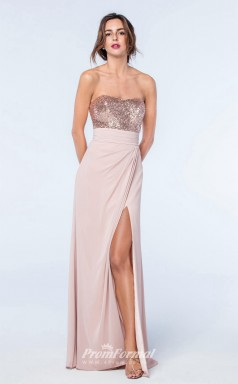 DASUKWS2307 Plus Sides Sheath Strapless Light Pink 112 Sequined Chiffon With Low Back Bridesmaid Dresses