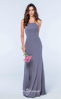 DASUKWS2509 Plus Sides Mermaid/Trumpet Straps Dark Lavender Satin Chiffon With Strappy Bridesmaid Dresses