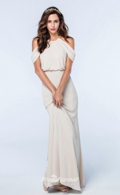DASUKWS2510 Plus Sides Mermaid/Trumpet Off the Shoulder Beige 59 Chiffon With Low Back Bridesmaid Dresses