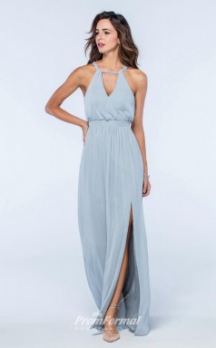 DASUKWS2512 Plus Sides A Line Halter Light Sky Blue 65 Chiffon With Covered Back Bridesmaid Dresses