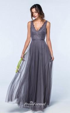 DASUKWS2600 Plus Sides A Line V Neck Dark Gray 109 Lace Tulleper Bridesmaid Dresses