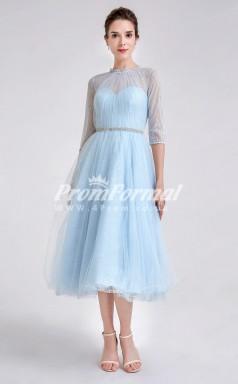 EBD001 Tulle Illusion Short Sky Blue Bridesmaid Dresses
