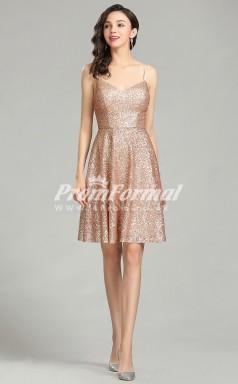 EBD004 Sequin Straps Short/Mini Rose Gold Bridesmaid Dresses