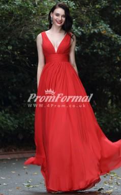 EBD007 V-neck Red Bridesmaid Dresses
