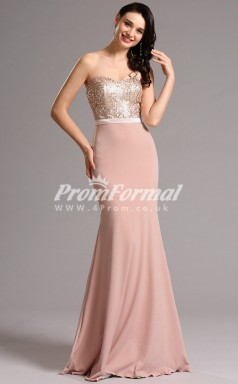 EBD012 Satin Sweetheart Pink Bridesmaid Dresses with Sequin Bodice