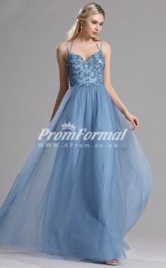 EBD014 Straps Blue Bridesmaid Dresses