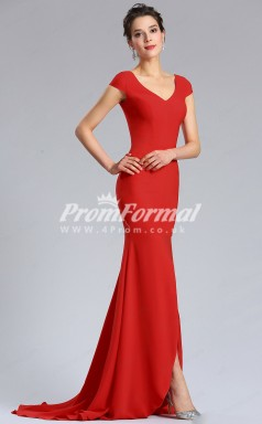 EBD023 V-neck Red Bridesmaid Dresses