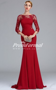 EBD027 Illusion Red Bridesmaid Dresses