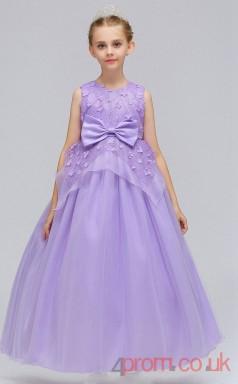 Lilac Organza Princess Jewel Tea-length Children's Prom Dresses(FGD236)