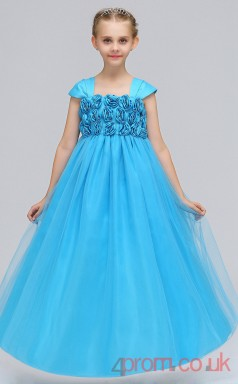 Burgundy Organza Princess Square Ankle-length Children's Prom Dresses(FGD238)