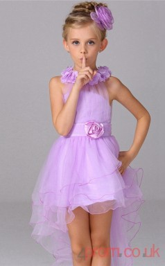 Lilac Tulle Princess Jewel Asymmetrical Children's Prom Dresses(FGD240)