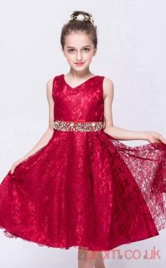 Burgundy Lace A-line V-neck Knee-length Children's Prom Dresses(FGD248)