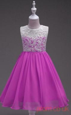 Medium Orchid Lace,Chiffon A-line Jewel Knee-length Children's Prom Dresses(FGD250)