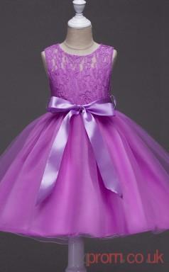 Deep Orchid Lace,Organza Princess Jewel Knee-length Children's Prom Dresses(FGD253)