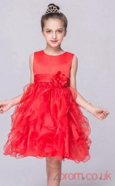 Red Organza Princess Jewel Knee-length Children's Prom Dresses(FGD254)
