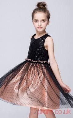 Black Sequinsed,Lace Princess Jewel Knee-length Children's Prom Dresses(FGD256)