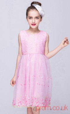 Blushing Pink Lace,Organza A-line Jewel Knee-length Children's Prom Dresses(FGD261)