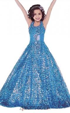 Blue Sequined Halter Sleeveless Floor-length A-line Children's Prom Dress (FGD273)