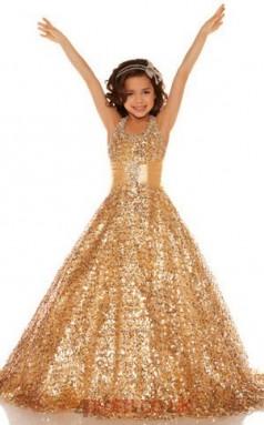 Gold Sequined Halter Sleeveless Floor-length A-line Children's Prom Dress (FGD275)