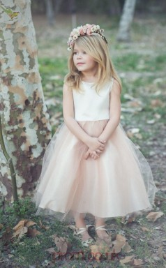 Pearl Pink Organza Jewel Sleeveless Tea-length Princess Children's Prom Dress (FGD280)
