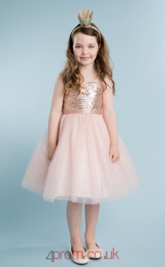 Pearl Pink Tulle Sequined Straps Sleeveless Tea-length Princess Children's Prom Dress (FGD281)