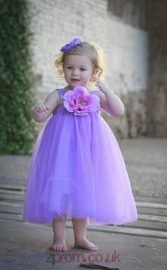 Leavender Tulle Jewel Sleeveless Tea-length Princess Children's Prom Dress (FGD285)