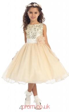 Champange Sequined Tulle Jewel Sleeveless Tea-length A-line Children's Prom Dress (FGD288)
