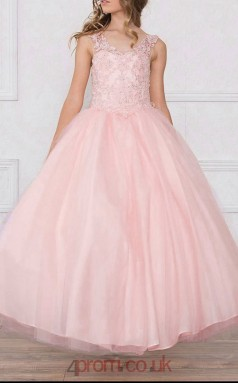 Pearl Pink Tulle Lace Scoop Sleeveless Ankle-length Ball Gown Children's Prom Dress (FGD296)