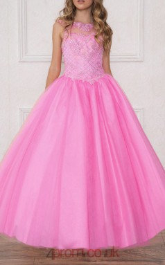 Pink Tulle Taffeta Illusion Sleeveless Ankle-length Princess Children's Prom Dress (FGD297)