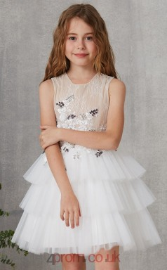 White Lace Tulle Jewel Sleeveless Mini Princess Children's Prom Dress (FGD310)
