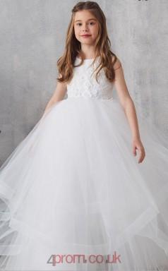 Ivory Tulle Jewel Sleeveless Floor-length Princess Children's Prom Dress (FGD311)