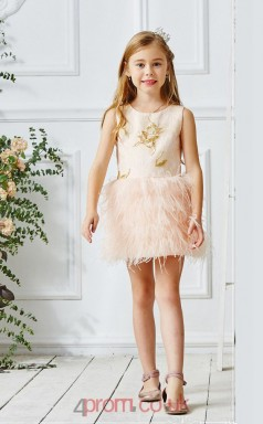 Light Champange Satin Lace Jewel Sleeveless Mini Princess Children's Prom Dress (FGD313)