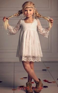 Ivory Lace Square A-line 3/4 Length Sleeve Short/Mini Kids Prom Dresses(FGD342)
