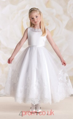 Ivory Tulle Jewel Ball Gown Ankle-length Kids Prom Dresses(FGD347)