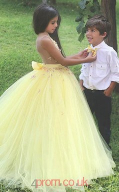 Yellow Tulle Illusion Ball Gown Floor-length Kids Prom Dresses(FGD349)