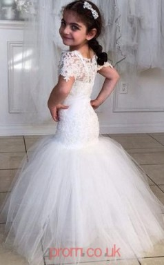 White Lace Tulle Scalloped Trumpet/Mermaid Short Sleeve Floor-length Kids Prom Dresses(FGD350)