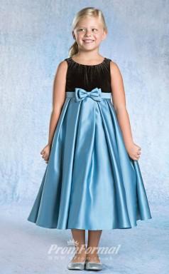 Lovely A-line Ankle-length Blue Flower Girls Dresses FGD401