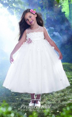 Lovely Princess Ankle-length White Flower Girls Dresses FGD413