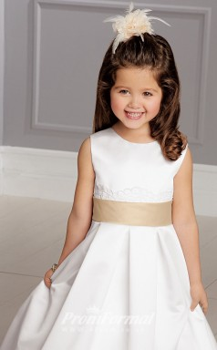 Cute A-line Floor-length White Flower Girls Dresses FGD421
