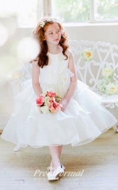 Cute Princess Ankle-length Pink Flower Girls Dresses FGD428