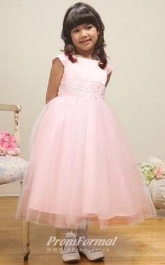 Cute Princess Ankle-length Pink Flower Girls Dresses FGD429