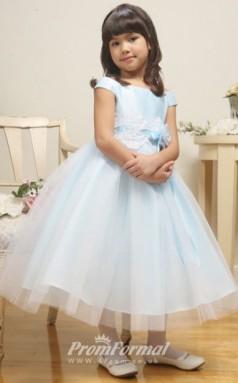 Cute Princess Ankle-length Sky Blue Flower Girls Dresses FGD430