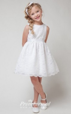 Cute A-line Short/Mini White Flower Girls Dresses FGD435