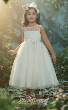New Style Princess Ankle-length White Flower Girls Dresses FGD448