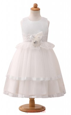 White Princess Jewel Tea Length Kid's Prom Dresses(HT15)