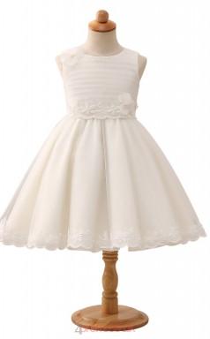 Ivory Princess Jewel Tea Length Kid's Prom Dresses(HT16)