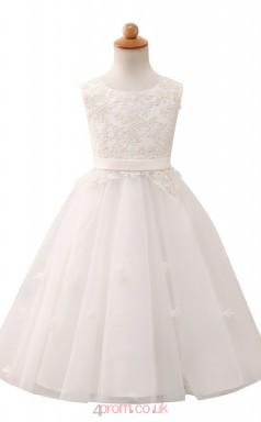 White Princess Jewel Tea Length Kid's Prom Dresses(HT17)